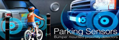mini Parking Sensors, front, rear, both in minio and visual formats